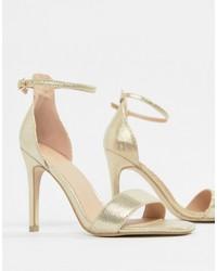 Sandalias de tacón de cuero doradas de New Look