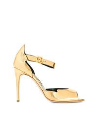 Sandalias de tacón de cuero doradas de Rupert Sanderson