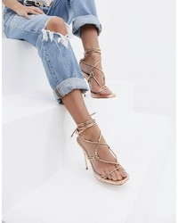 Sandalias de tacón de cuero doradas de SIMMI Shoes