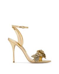 Sandalias de tacón de cuero doradas de Sophia Webster