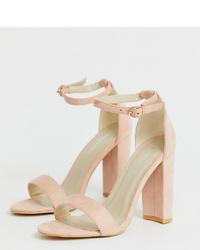 Sandalias de tacón de cuero en beige de Glamorous Wide Fit