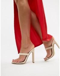Sandalias de tacón de cuero en beige de Missguided
