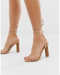 Sandalias de tacón de cuero en beige de Office