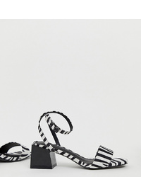 Sandalias de tacón de cuero en blanco y negro de ASOS DESIGN