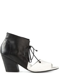 Sandalias de tacón de cuero en blanco y negro de Marsèll