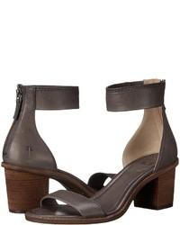 Sandalias de tacón de cuero en gris oscuro
