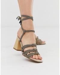 Sandalias de tacón de cuero en multicolor de ASOS DESIGN
