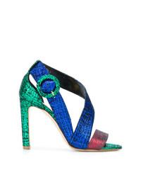 Sandalias de tacón de cuero en multicolor de Rupert Sanderson