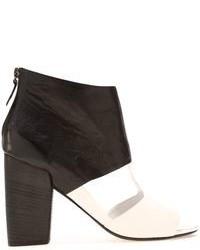 Sandalias de tacón de cuero en negro y blanco de Marsèll