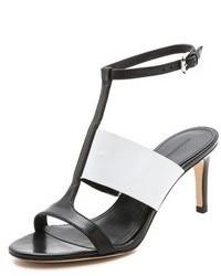 Sandalias de tacón de cuero en negro y blanco de Sigerson Morrison