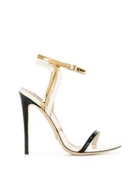 Sandalias de tacón de cuero en negro y dorado de Gianni Renzi