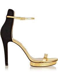 Sandalias de tacón de cuero en negro y dorado de Michael Kors