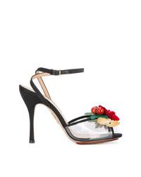 Sandalias de tacón de cuero en rojo y negro de Charlotte Olympia