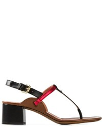 Sandalias de tacón de cuero en rojo y negro de L'Autre Chose