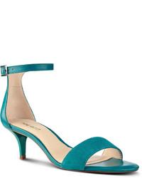 Sandalias de tacón de cuero en verde azulado