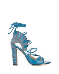 Sandalias de tacón de cuero en verde azulado de Paula Cademartori