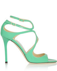 Sandalias de tacón de cuero en verde menta