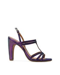 Sandalias de tacón de cuero en violeta