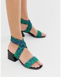 Sandalias de tacón de cuero estampadas verdes de ASOS DESIGN