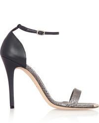 Sandalias de Tacón de Cuero Grises de Alexander McQueen