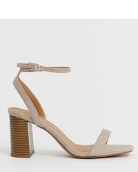 Sandalias de tacón de cuero grises de ASOS DESIGN