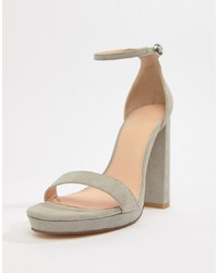 Sandalias de tacón de cuero grises de Coco Wren