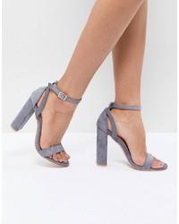 Sandalias de tacón de cuero grises de LOST INK