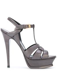 Sandalias de tacón de cuero grises de Saint Laurent