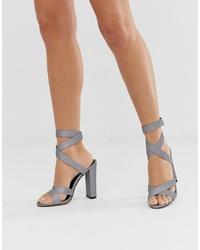 Sandalias de tacón de cuero grises de SIMMI Shoes