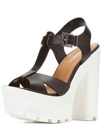 Sandalias de Tacón de Cuero Gruesas Blancas y Negras de Soda Sunglasses
