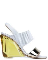 Sandalias de tacón de cuero gruesas blancas de Monique Lhuillier