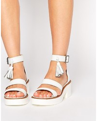 Sandalias de tacón de cuero gruesas blancas de Windsor Smith