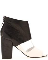 Sandalias de tacón de cuero gruesas en blanco y negro de Marsèll