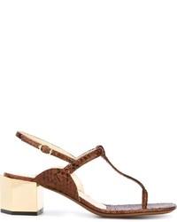 Sandalias de tacón de cuero gruesas marrónes de L'Autre Chose
