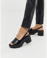 Sandalias de tacón de cuero gruesas negras de ASOS DESIGN