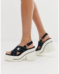 Sandalias de tacón de cuero gruesas negras de Converse
