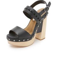 Sandalias de Tacón de Cuero Gruesas Negras de Cynthia Vincent