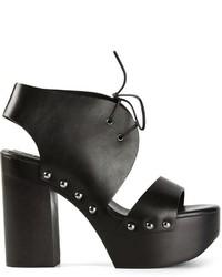 Sandalias de tacón de cuero gruesas negras de Jil Sander