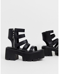 Sandalias de tacón de cuero gruesas negras de Lamoda