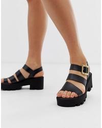Sandalias de tacón de cuero gruesas negras de River Island