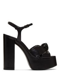Sandalias de tacón de cuero gruesas negras de Saint Laurent
