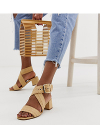 Sandalias de tacón de cuero marrón claro de ASOS DESIGN