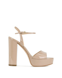 Sandalias de tacón de cuero marrón claro de Deimille