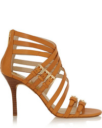 Sandalias de tacón de cuero marrón claro de MICHAEL Michael Kors