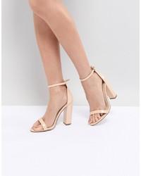 Sandalias de tacón de cuero marrón claro de Missguided