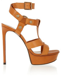 Sandalias de tacón de cuero marrón claro de Saint Laurent
