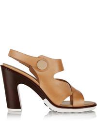 Sandalias de tacón de cuero marrón claro de Tod's