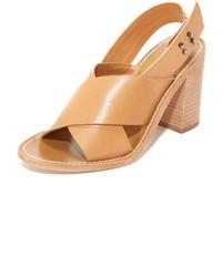 Sandalias de Tacón de Cuero Marrón Claro de Zimmermann