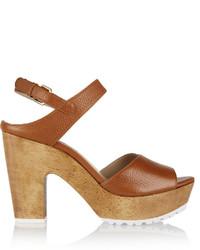 Sandalias de tacón de cuero marrónes de Diane von Furstenberg
