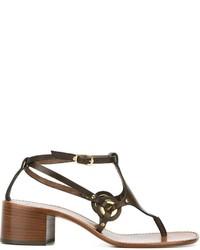 Sandalias de tacón de cuero marrónes de L'Autre Chose